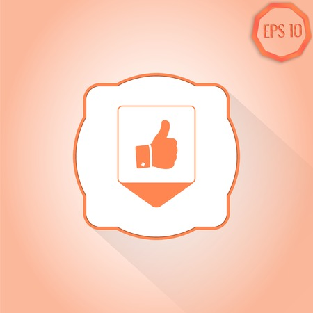 Map pointer - Vector hand with thumb up icon. Flat design style. Vector