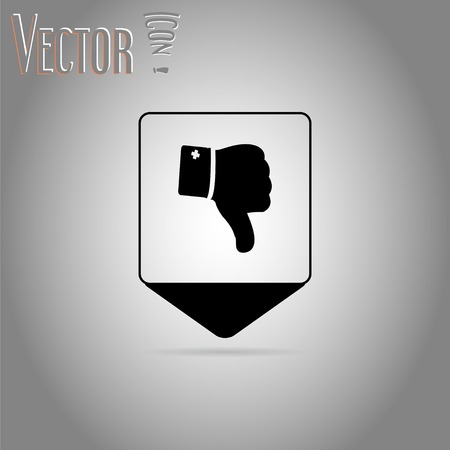 Map pointer - Vector hand with thumb down icon. Flat design style. Vector