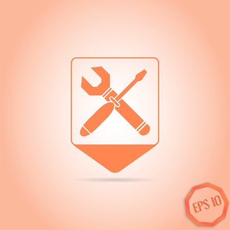 map toolkit: Map pointer with wrench and screwdriver icon. Sign options. Flat design style. Made in vector illustration Illustration