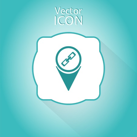 Map pointer with link icon. Sign of the chain. Flat design style. Made in vector illustration Vector