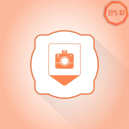 Map pointer with photo camera icon. Flat design style. Made in vector illustration Vector