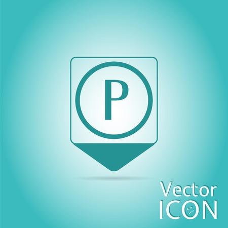 Map pointer - parking sign. Flat design style. Made in vector illustration Vector