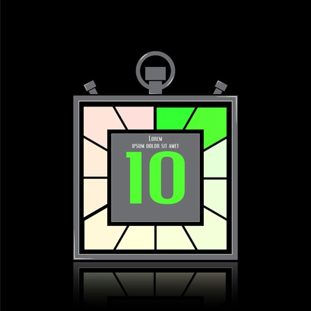 specular: Icono electr�nico cron�metro. Temporizador Square. Diez segundos. Reloj de cocina. La reflexi�n especular. Estilo Dise�o plano. Hecho en la ilustraci�n vectorial
