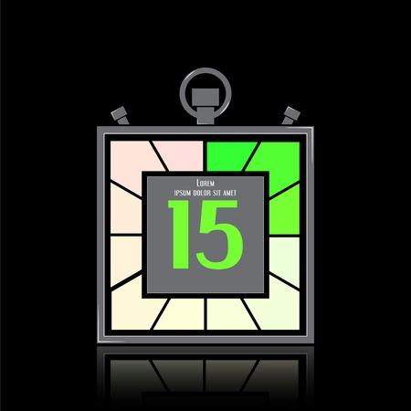 specular: Icono electr�nico cron�metro. Temporizador Square. Quince segundos. Reloj de cocina. La reflexi�n especular. Estilo Dise�o plano. Hecho en la ilustraci�n vectorial