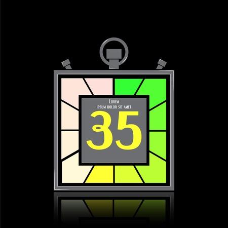 specular: Icono electr�nico cron�metro. Temporizador Square. Treinta y cinco segundos. La reflexi�n especular. Reloj de cocina. Estilo Dise�o plano. Hecho en la ilustraci�n vectorial