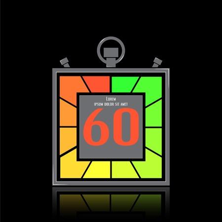 specular: Icono electr�nico cron�metro. Temporizador Square. Sesenta segundos. La reflexi�n especular. Reloj de cocina. Estilo Dise�o plano. Hecho en la ilustraci�n vectorial Vectores