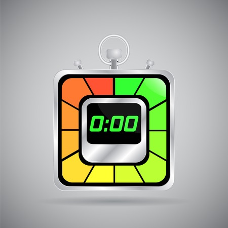 Electronic stopwatch icon. Realistic metallic timer. Kitchen clock. Flat design style. Made in vector illustration