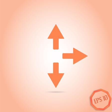 groupware: Three arrows. Right direction sign, right back. Flat Design Style. Made in vector