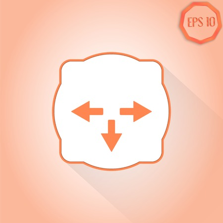 groupware: Three arrows. Direction sign to the left, backward, right. Flat Design Style. Made in vector