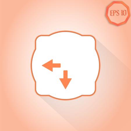 groupware: Dos flechas. Se�al de direcci�n a la izquierda y la espalda. Estilo Dise�o plana. Made in vector Vectores