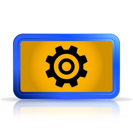 specular: Cogwheel and development icon.  Isolated on white background. Specular reflection. Made vector illustration