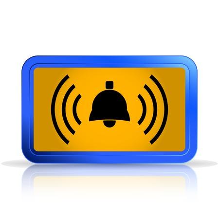 specular: Zumbido icono de campana. Aislado en el fondo blanco. La reflexi�n especular. Ilustraci�n vectorial Hecho