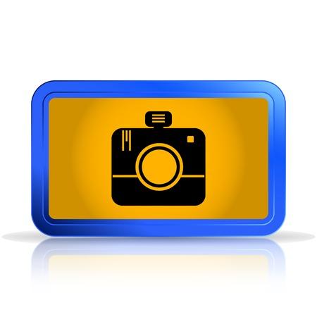 specular: Foto icono de la c�mara. La reflexi�n especular. Ilustraci�n vectorial Hecho
