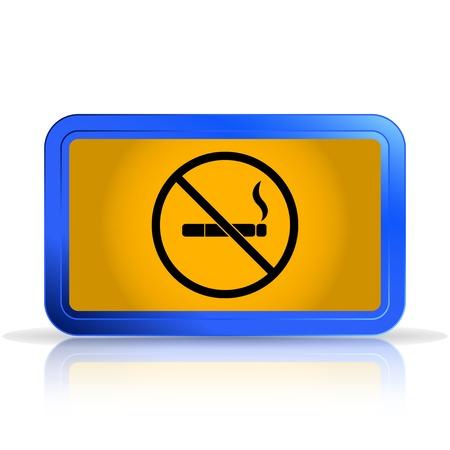 smoldering: Nessun segno di fumare. Isolato su sfondo bianco. Riflessione speculare. Realizzato illustrazione vettoriale