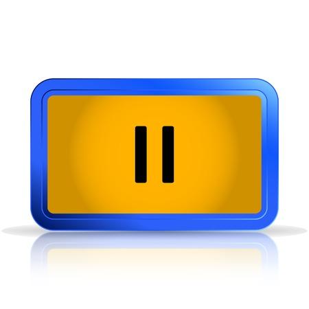 specular: Pausa. Reproductor multimedia. Aislado en el fondo blanco. La reflexi�n especular. Ilustraci�n vectorial Hecho Vectores
