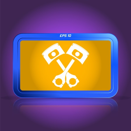 specular: Piston and conrods icon. Specular reflection. Made vector illustration
