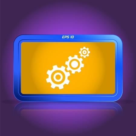 Tandrad en ontwikkeling icoon. Spiegelende reflectie. Gemaakt vector illustratie