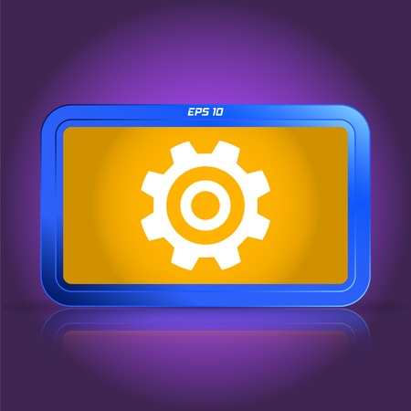 specular: Cogwheel and development icon. Specular reflection. Made vector illustration