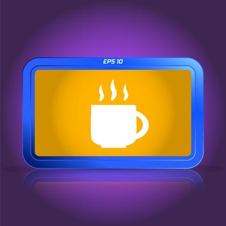 specular: Icono de la taza de caf�. Taza de t�. La reflexi�n especular. Ilustraci�n vectorial Hecho