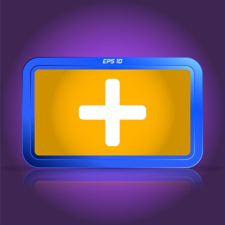 plus icon: Plus icon. Specular reflection. Made vector illustration