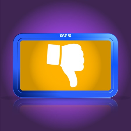 thumb down: Hand with thumb down icon. Specular reflection. Made vector illustration Illustration