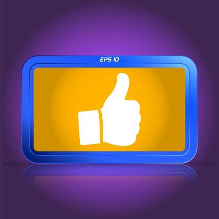 specular: Mano con el pulgar arriba icono. La reflexi�n especular. Ilustraci�n vectorial Hecho Vectores