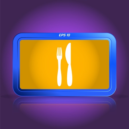 specular: Icon of knife and fork. Icon cafe or restaurant. Specular reflection. Made vector illustration
