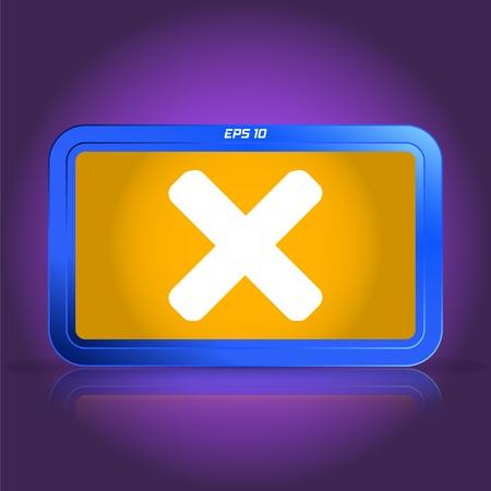 specular: Cancelar icono. La reflexi�n especular. Ilustraci�n vectorial Hecho Vectores