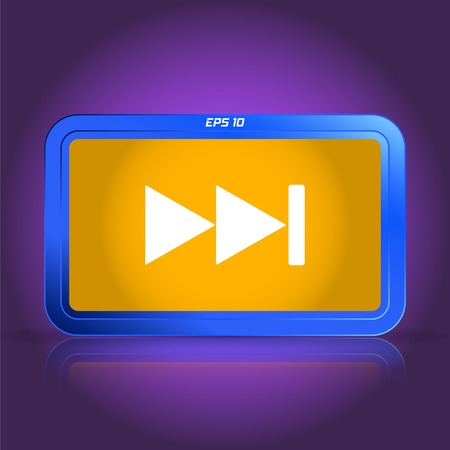 rewind: Rewind icon. Media player. Specular reflection. Made vector illustration