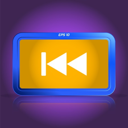 eject: Rewind icon. Media player. Specular reflection. Made vector illustration