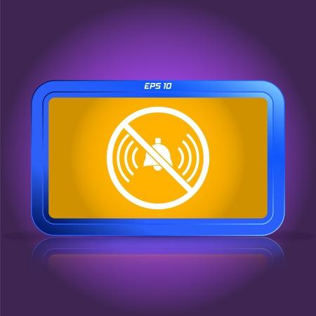 ringer: Turn off phone ringer icon. Specular reflection. Made vector illustration