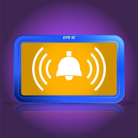 specular: Ringing bell icon. Specular reflection. Made vector illustration