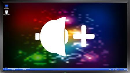louder: Icon speaker louder on the screen monitor. Made vector illustration