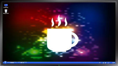 Coffee cup icon. Tea cup on the screen monitor. Made vector illustration Ilustração
