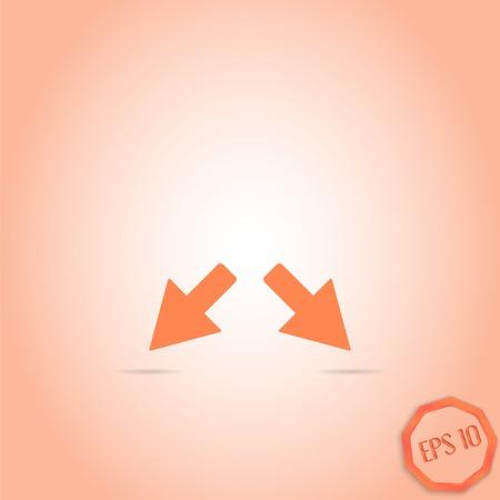 groupware: Dos flechas. Se�al de direcci�n. Estilo Dise�o plano. Made in vector
