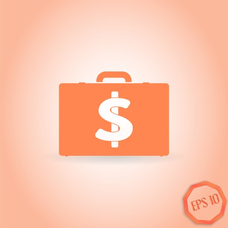 illustrator vector: Case with money. Dollar sign. Flat design style. Made in illustrator vector Illustration