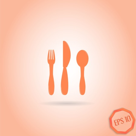 Icon knife, spoon and fork. Cafe restaurant. Flat design style. Made vector illustrator Vector