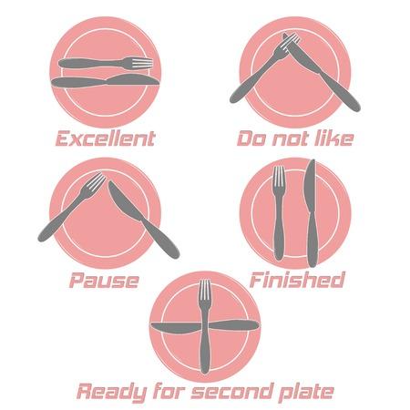 Dining etiquette. Table manner, knifes and forks signals. Cafe restaurant. Flat design style. Made vector illustrator Vector