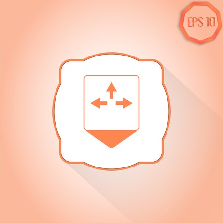 three pointer: Map pointer - three arrows. Direction sign to the left, right, right. Flat Design Style. Made in vector