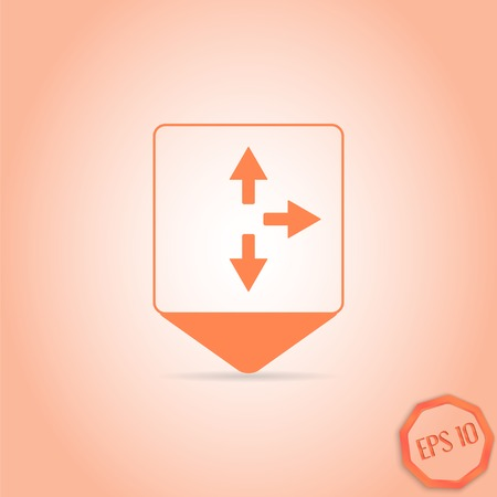 three pointer: Map pointer - three arrows. Right direction sign, right back. Flat Design Style. Made in vector Illustration