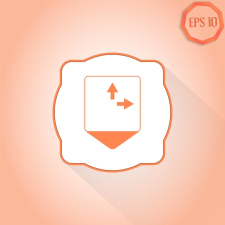 three pointer: Map pointer - three arrows. Direction sign right, left, back. Flat Design Style. Made in vector