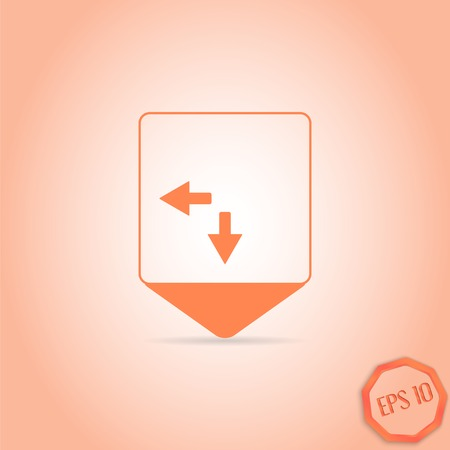 two arrows: Map pointer - two arrows. Direction sign to the right and back. Flat Design Style. Made in vector