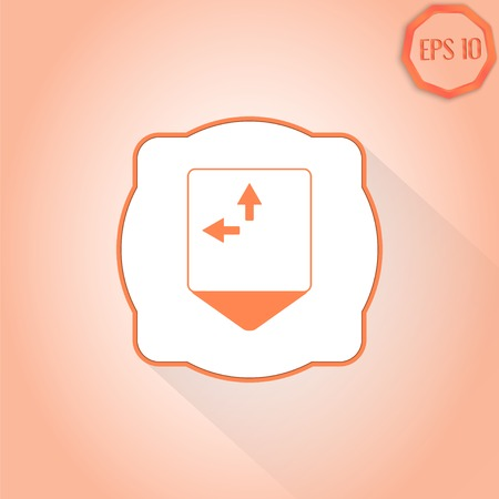two arrows: Map pointer - two arrows. Direction sign to the left and right. Flat Design Style. Made in vector Illustration