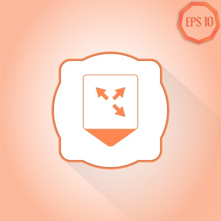 three pointer: Map pointer - three arrows. Direction sign. Flat Design Style. Made in vector Illustration