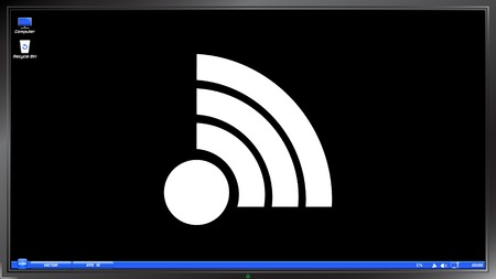 lan: Wireless Network icon on the screen monitor. Made vector illustration