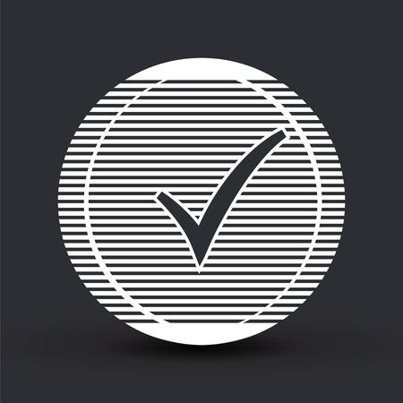 check box: Check mark. Flat design style. Illustration