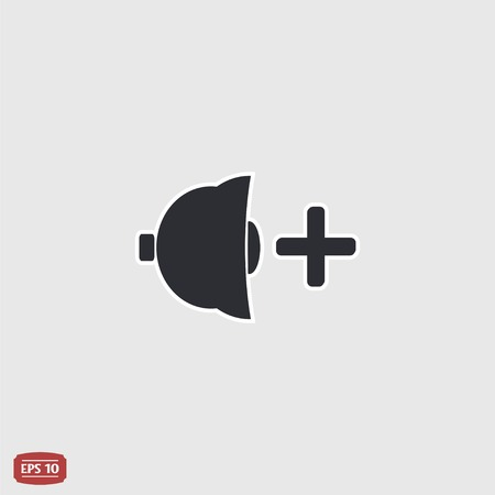 specular: Icon speaker louder. Flat design style. Specular reflection.