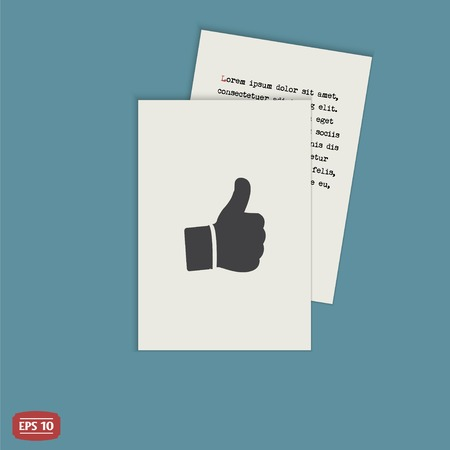 Hand with thumb up icon. Flat design style.  Vector