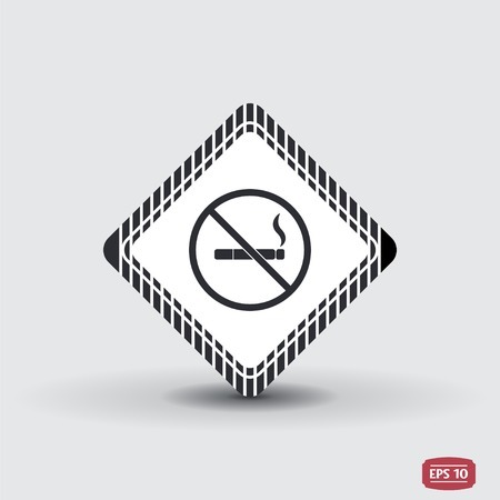 smoldering cigarette: No smoking sign. Flat design style.