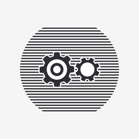 Tandrad en ontwikkeling pictogram. Platte ontwerpstijl. Gemaakt vectorillustratie Stock Illustratie